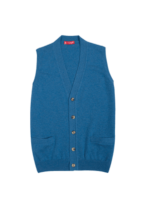 Blue Cashmere Buttoned Knitted Vest