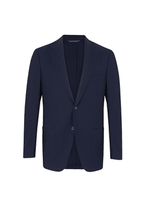 Navy Blue Wool Single-Breasted Patch Pocket Two-Piece Suit