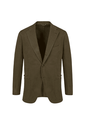 Olive Plain Weave Cotton Single-Breasted Suit