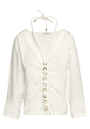 Derek Lam 10 Crosby Woman Embellished Ruched Cotton-poplin Top White Size 10