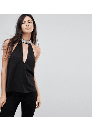 ASOS TALL Plunge Halter Top with Embellished Choker