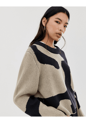 Weekday Mae Jacquard Sweater in Black and Brown