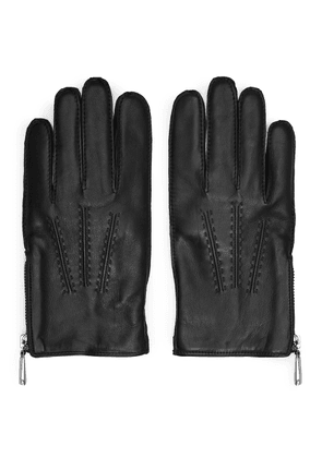 Reiss Rothdale - Leather Zip Detail Gloves in Black, Mens, Size M