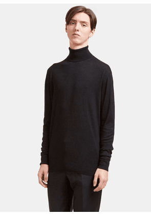 Aiezen AIEZEN Men's Cashmere and Silk Roll Neck Sweater in Black size S