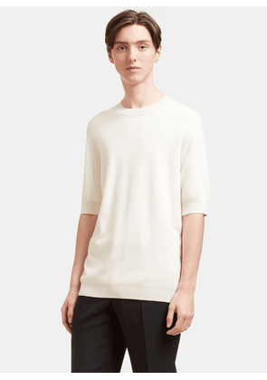 Aiezen AIEZEN Men's Cashmere and Silk Fine Knit T-shirt in Milk size S