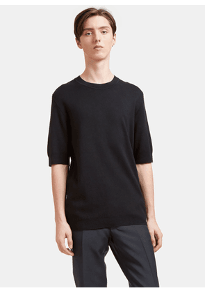 Aiezen AIEZEN Men's Cashmere and Silk Fine Knit T-shirt in Black size S