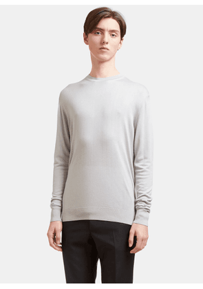 Aiezen Men's Crew Neck Long Sleeved Top in Light Grey size S