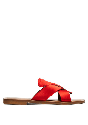 Álvaro - Antoniona Frayed Satin Sandals - Womens - Red