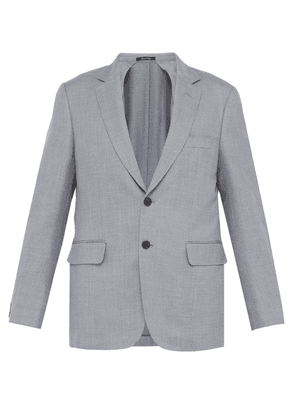 Dunhill - Single Breasted Wool Blend Blazer - Mens - Blue