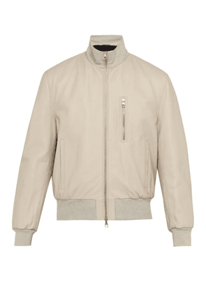 Dunhill - Flyers Leather Bomber Jacket - Mens - Grey
