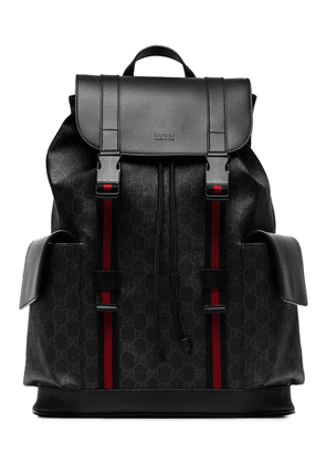 Gucci black logo red striped backpack
