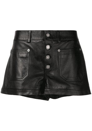 Saint Laurent mid-rise leather shorts - Black