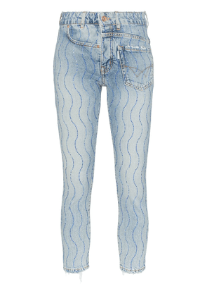 Filles A Papa crystal wave-embellished twisted jeans - Blue