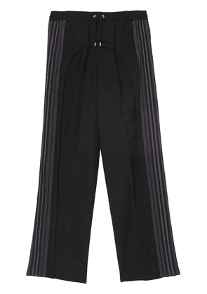 Burberry Striped Panel Wool Mohair Tailored Trousers - Black