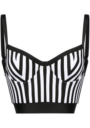 Balmain striped longline bikini top - Black