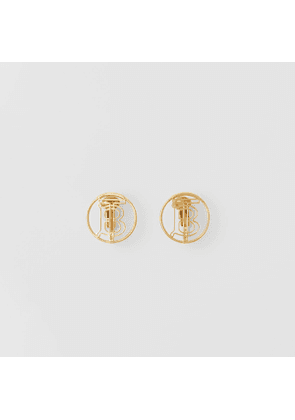 Burberry Gold-plated Monogram Motif Earrings, Yellow