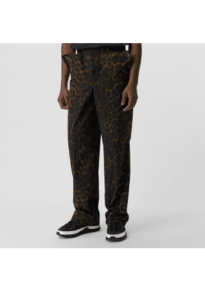 Burberry Relaxed Fit Leopard Print Cotton Trousers, Size: 44, Green