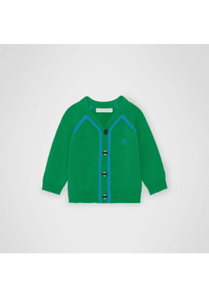Burberry Childrens Two-tone Cotton Knit Cardigan, Green