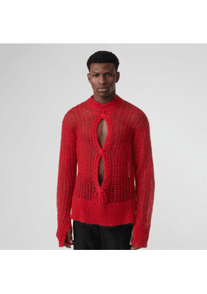 Burberry Open Knit Mohair Wool Blend Sweater, Red