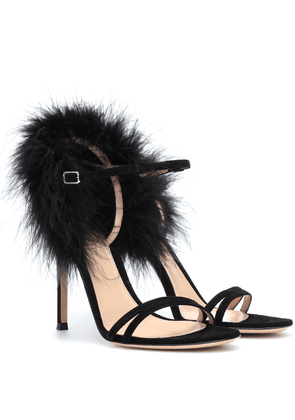 Thais suede and feather sandals