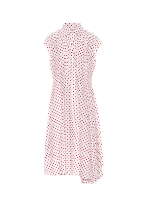 Polka-dot silk shirt dress