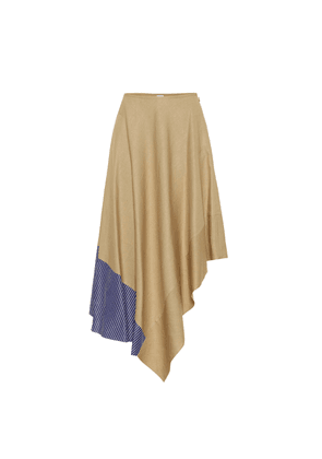 Asymmetric linen and cotton skirt
