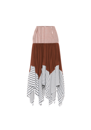 Patchwork cotton-blend midi skirt