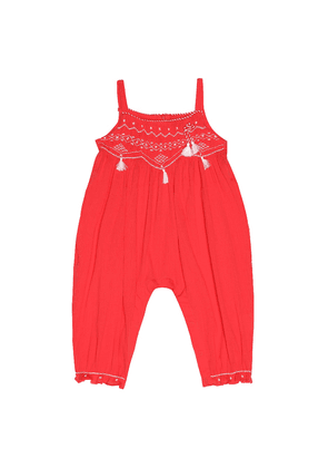 Baby embroidered cotton playsuit