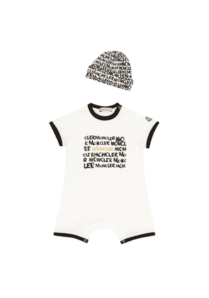 Printed cotton playsuit and hat