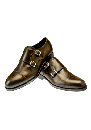 Belsire Brown Berny Leather Double Buckle Monk Strap Shoes