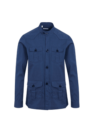G. Inglese Navy Cotton Seersucker Safari Shirt