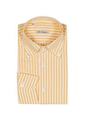 G. Inglese Yellow and White Cotton Poplin Stripe Shirt