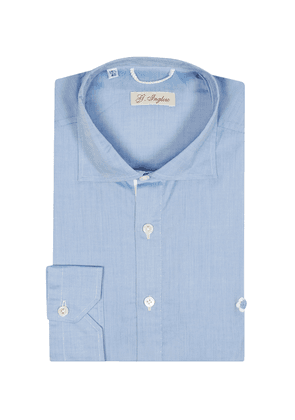 G. Inglese Light Blue Cotton Voile Polo Shirt