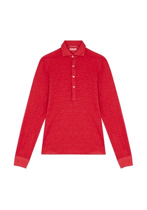 G. Inglese Red Linen Long Sleeve Polo Shirt