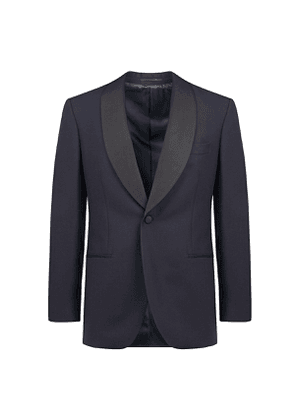 Blue Wool and Mohair Shawl Lapel Tuxedo Suit