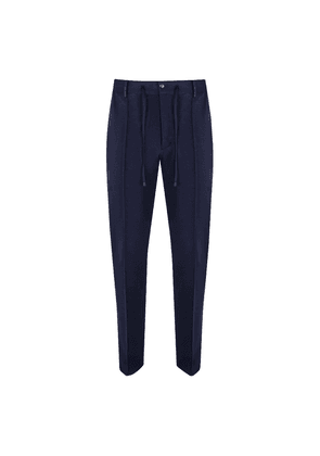 Navy Cotton Jersey Drawstring Trousers