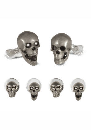 Sterling Silver Grey Skull Dress Stud Set with Diamond Eyes