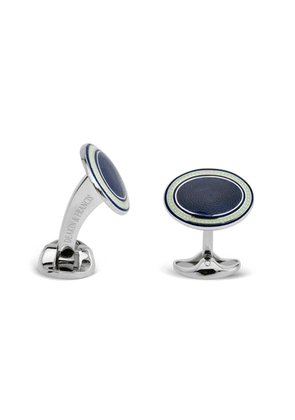 Navy Blue, Clear And Purple Enamel Cufflinks