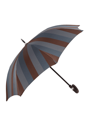 Blue, Grey and Brown Aluminium and Leather Storm Umbrella