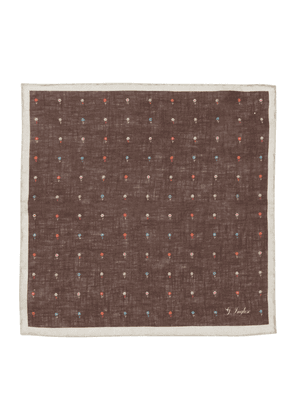 Brown Linen Floral Hemmed Pocket Square