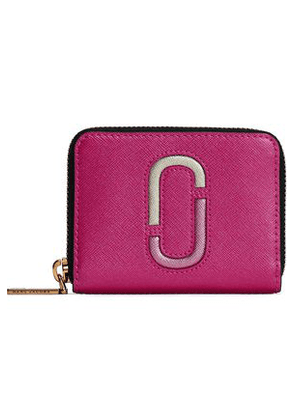 Marc Jacobs Woman Metallic Textured-leather Wallet Pink Size -