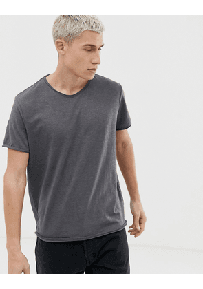 Weekday Dark t-shirt with raw edge in grey
