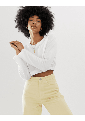 Weekday Cropped Gathered Bottom top in white