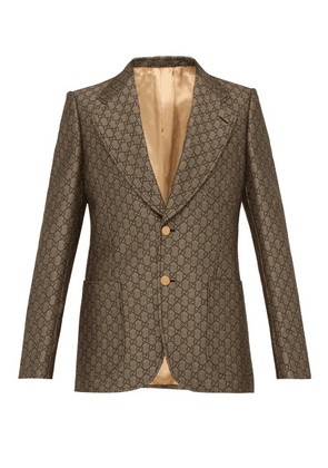 Gucci - Gg Monogram Single Breasted Suit Jacket - Mens - Beige