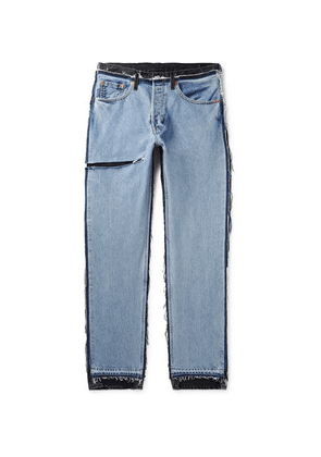 Vetements - + Levi's Distressed Panelled Denim Jeans - Light blue