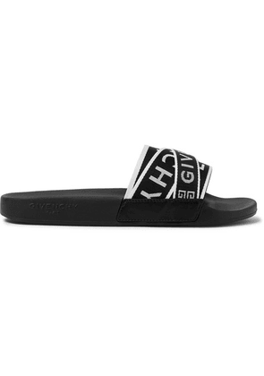 Givenchy - Logo-jacquard Webbing, Leather And Rubber Slides - Black
