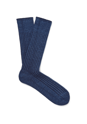 Anonymous Ism - Ribbed Mélange Cotton-blend Socks - Storm blue