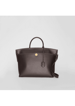 Burberry Leather Society Top Handle Bag, Brown