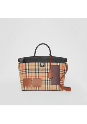 Burberry Vintage Check and Leather Society Top Handle Bag, Beige