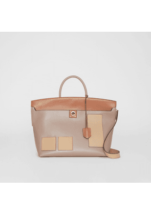 Burberry Leather Society Top Handle Bag, Grey